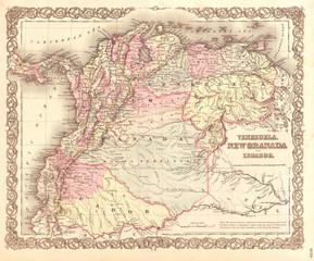1855, Colton Map of Columbia, Venezuela and Ecuador