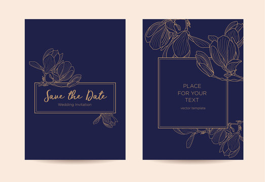Elegant wedding invitation  with magnolia flowers. Golden graphic flowers on a dark blue background. Vector template for design of invitations, restaurant menu or spa.