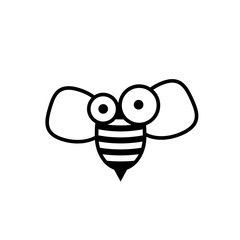 Cartoon bee silhouette icon. Clipart image isolated on white background