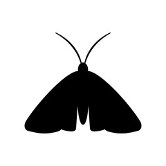 Clothing moth silhouette icon. Clipart image isolated on white background