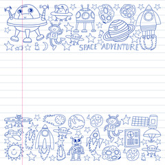 Vector set of space elements icons in doodle style. Painted, drawn with a pen, on a sheet of checkered paper on a white background.
