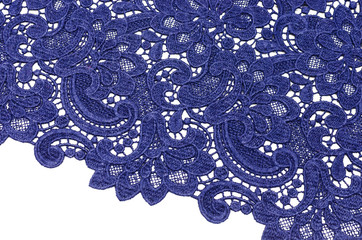Lacy canvas of dark blue color made of wool and polyamide