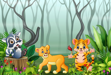 Foto auf Leinwand Waldtiere Animals cartoon with a view of the forest in the fog