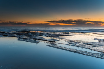 Smooth and Rough Dawn Seascape
