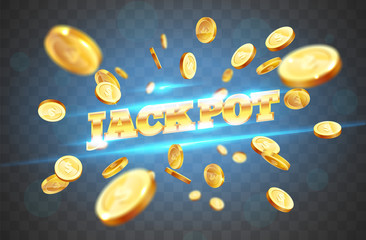 The gold word Jackpot, surrounded by attributes of gambling, on a coins explosion background. The new, best design of the luck banner, for gambling, casino, poker, slot, roulette or bone.