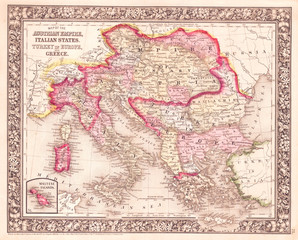 1864, Mitchell Map of Italy, Greece and the Austrian Empire