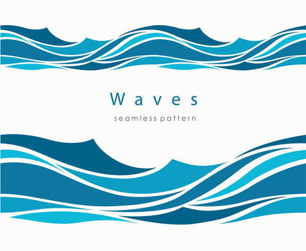Marine seamless pattern with stylized waves on a light backgroun