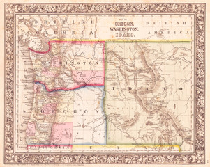 1864, Mitchell Map of Washington, Oregon and Idaho