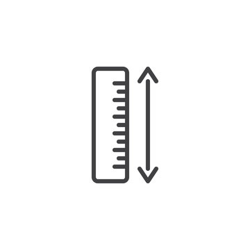 Measure ruler line icon. linear style sign for mobile concept and web design. Ruler and arrow outline vector icon. Symbol, logo illustration. Pixel perfect vector graphics