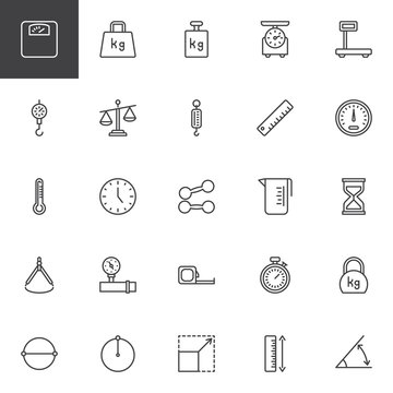 Scale and Measurement line icons set. linear style symbols collection, outline signs pack. vector graphics. Set includes icons as Calibration Weight scale, Measuring Ruler, Speedometer, Stopwatch