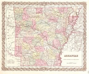 1855, Colton Map of Arkansas
