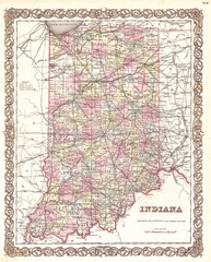 Fototapete - Old Map of Indiana, 1855, Colton