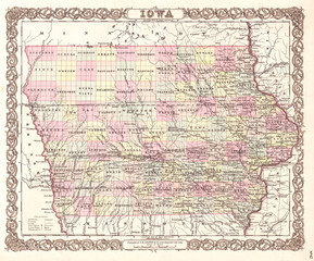 1855, Colton Map of Iowa