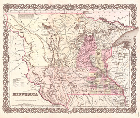 Old Map of Minnesota, 1855, Colton