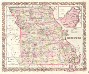 1855, Colton Map of Missouri