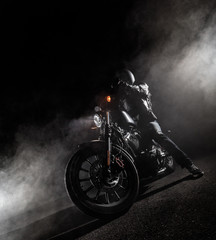 High power motorcycle at night.