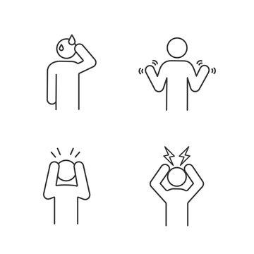 Emotional stress linear icons set
