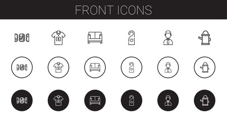 front icons set