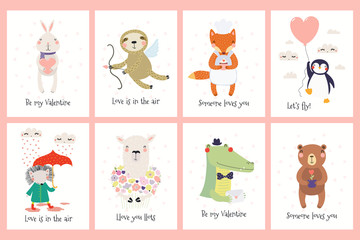 Poster Illustrations Set of Valentines day cards with cute funny animals, hearts, text. Hand drawn vector illustration. Scandinavian style flat design. Concept for children print.