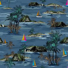 Beautiful seamless island pattern. Summer trends bright seamless colorful island pattern on blue background. Landscape with palm trees, beach, sailing ship and ocean brush hand drawn style.