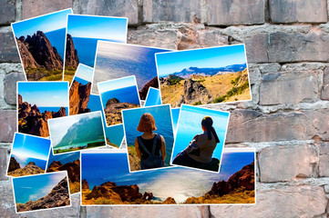 Photo collage on a brick wall background. View of the sea coast, mountain ranges. The concept of tourism. With copy space.
