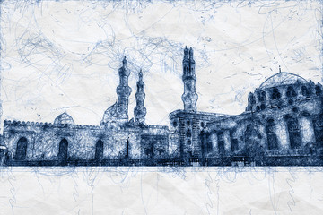 ballpoint pen scribble illustration of a mosque in Cairo Egypt