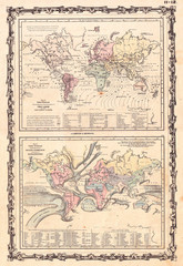 1861, Johnson Climate Map of the World w- Tides and Ocean Currents