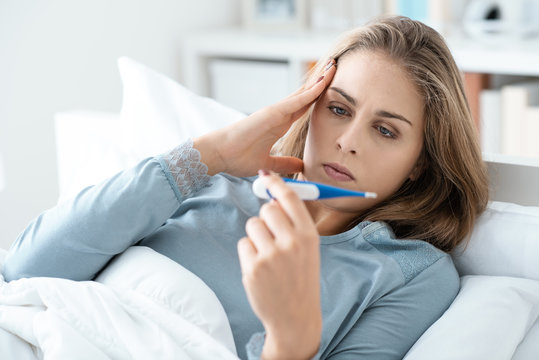 Young woman with flu