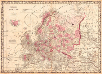 1862, Johnson Map of Europe