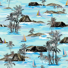 Beautiful seamless island pattern. Summer trends bright seamless colorful island pattern on light green background. Landscape with palm trees, beach, sailing ship and ocean brush hand drawn style.