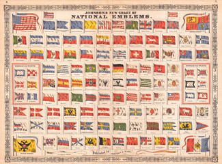 Chart of the Flags and National Emblems of the World, 1864, Johnson
