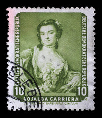 Stamp printed in DDR shows the painting Portrait of the dancer Barbarina Campani, by Rosalba Carriera, from the series Famous Paintings from Dresden Gallery, circa 1957.