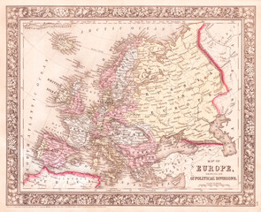 1864, Mitchell Map of Europe