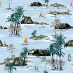 Beautiful seamless island pattern. Summer trends bright seamless colorful island pattern on light blue background. Landscape with palm trees, beach, sailing ship and ocean brush hand drawn style.