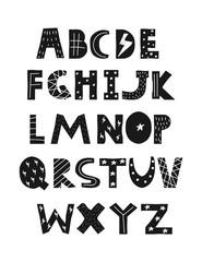 Fototapeta Cool kids font in trendy style. Black and white alphabet. Cute nursery poster. Vector hand drawn illustration.