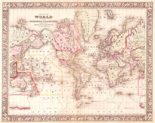 1864, Mitchell Map of the World on Mercator Projection