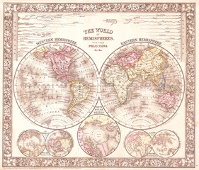 Old Map of the World on Hemisphere Projection, 1864, Mitchell