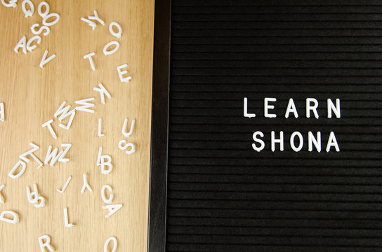 Learn Shona Zimbabwe language, SHD abbreviation, simple sign on black background, great for teachers, schools, students
