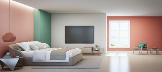 Fototapete - Sea view bedroom and pink living room of luxury summer beach house with double bed near wooden cabinet. TV on white wall in vacation home or holiday villa. Hotel interior 3d illustration.