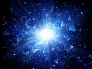 Shards of broken glass. Abstract explosion. Vector background Fototapete