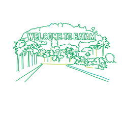 Welcome to Batam outline drawing