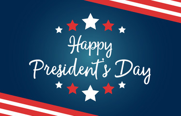 Happy President's Day national US holiday. Greeting card with symbols of American flag, with stripes and stars. Includes creative lettering on blue background.