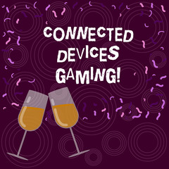Writing note showing Connected Devices Gaming. Business photo showcasing devices operate interactively and autonomously Filled Wine Glass for Celebration with Scattered Confetti photo