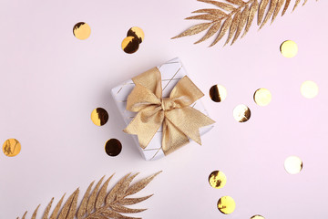 Beautiful gift box and decor on white background