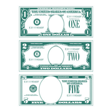 Three simplified stylized bills with no faces in their respective ovals.
