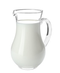 Jug of milk on white background