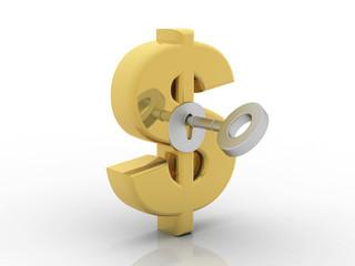 3d rendering insert key Dollar symbol