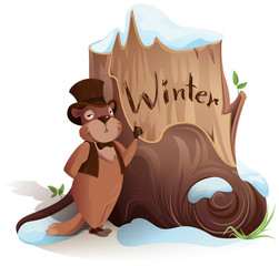 Groundhog Day. Marmot announces early arrival of winter