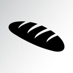 Bread loaf, black icon. Vector illustration