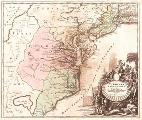 1715, Homann Map of Carolina, Virginia, Maryland and New Jersey